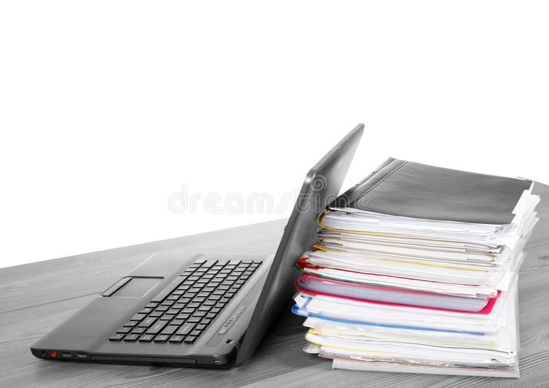 Many Files And A Computer On A Desk Royalty Free Stock Image