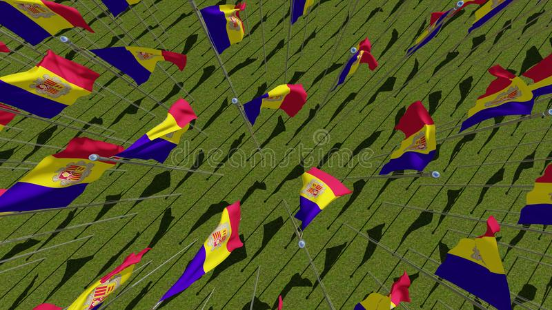 Many flags of Andorra view from above. In green field in sunny day. Three dimensional rendering 3D illustration stock illustration