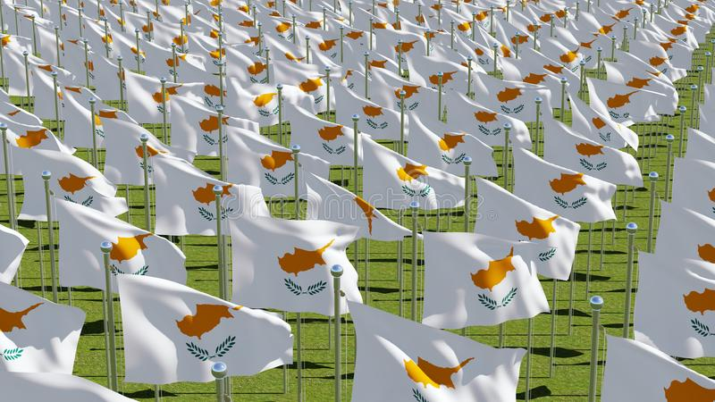 Many flags of Cyprus waving in green field. stock illustration