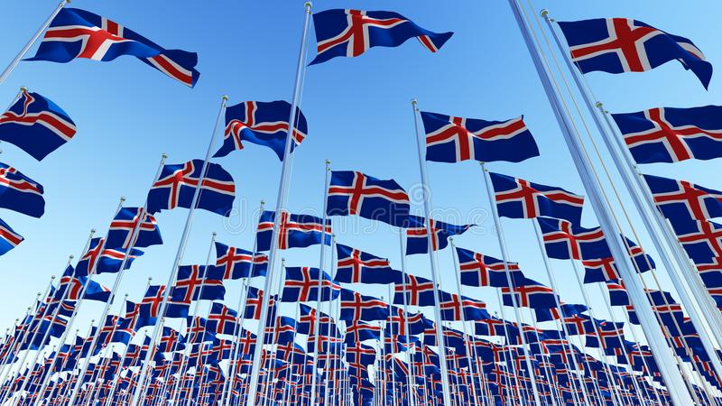 Many flags of Iceland against clear blue sky. stock illustration