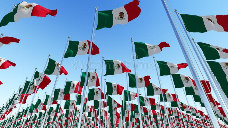 Many flags of Mexico waving against blue sky vector illustration