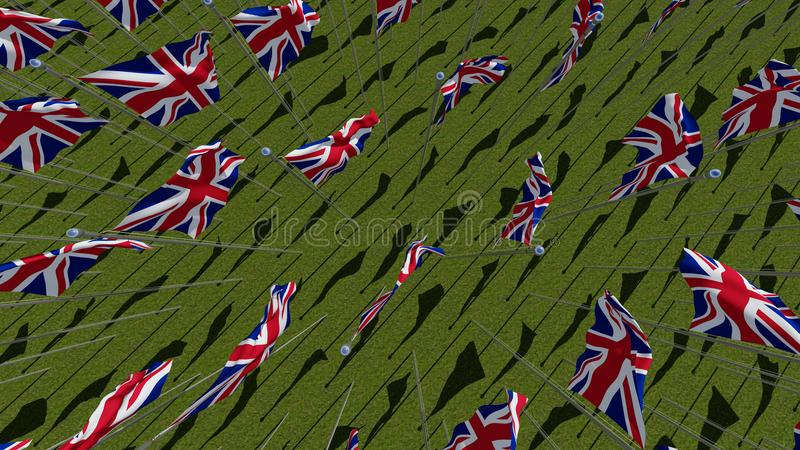 Many flags of the United Kingdom waving in green field vector illustration