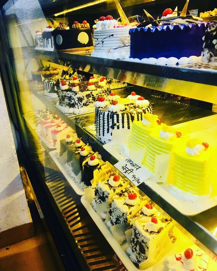 Bakery birthday cakes stock photos