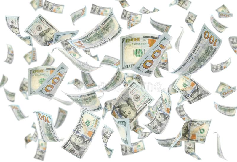 Many flying American banknotes on white. Background royalty free stock photo