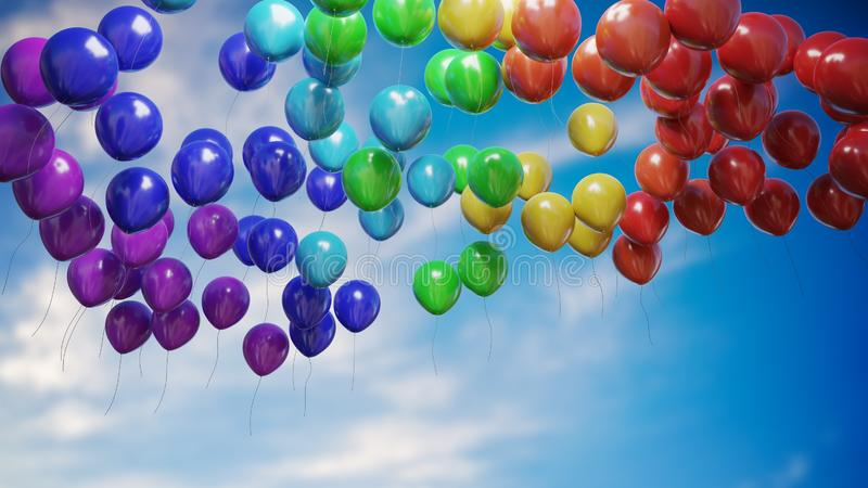 Many flying colorful balloons against blue sky. 3D rendered illustration.  royalty free illustration