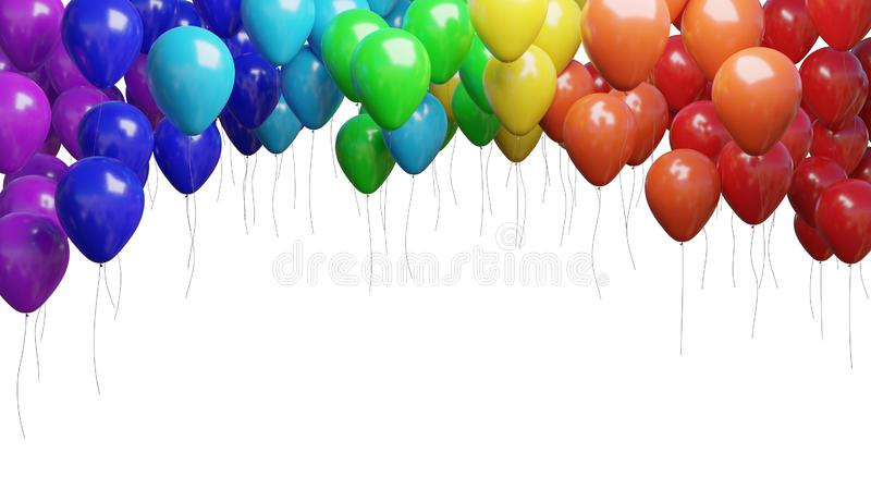 Many flying colorful balloons isolated on white background. 3D rendered illustration.  royalty free illustration