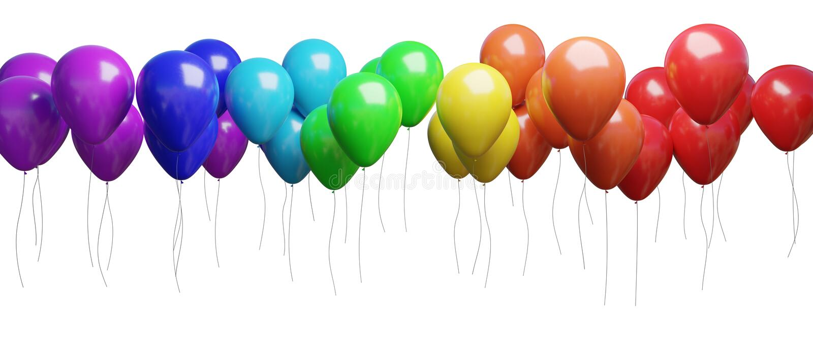 Many flying colorful balloons isolated on white background. 3D rendered illustration.  vector illustration