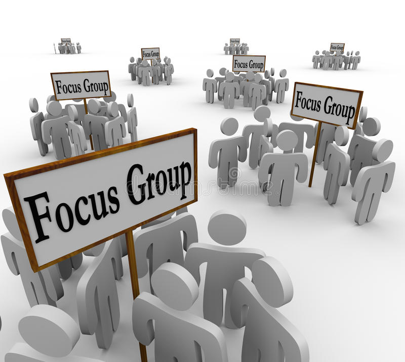 Many Focus Groups People Meeting Signs Niche Customers royalty free illustration