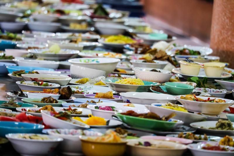 Many food containers have been placed for eating royalty free stock photos