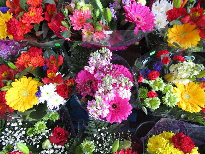 Many Fresh Attractive Colorful Flower Bouquets At The Flower Shop ...