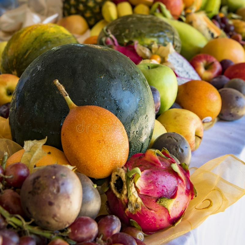 Fresh Fruits on buffet: melon, apples, grapes, tamarillo, passion fruit stock photography