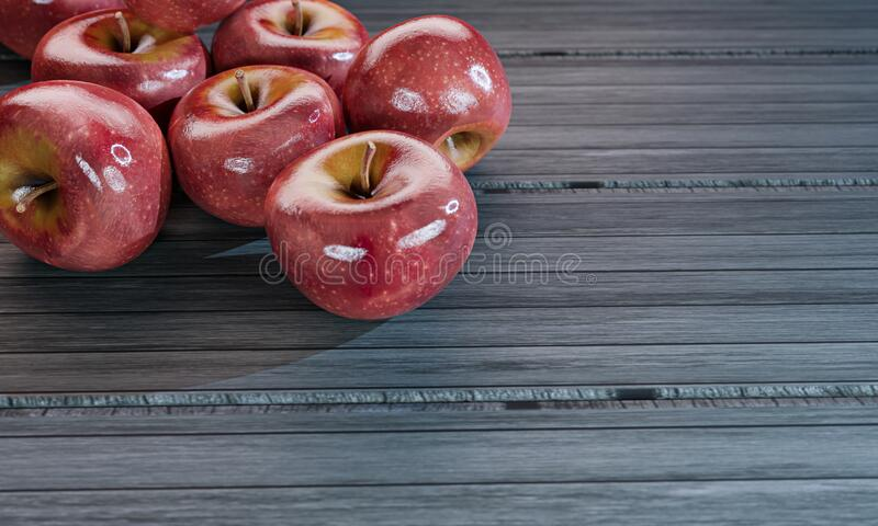 Many fresh red apples placed on a plank table. 3D Rendering.  stock illustration