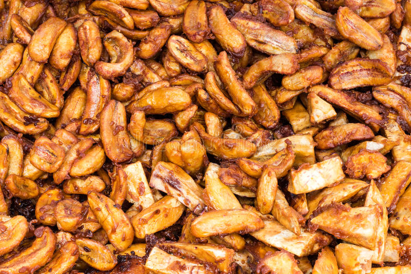Many fried bananas. stock images