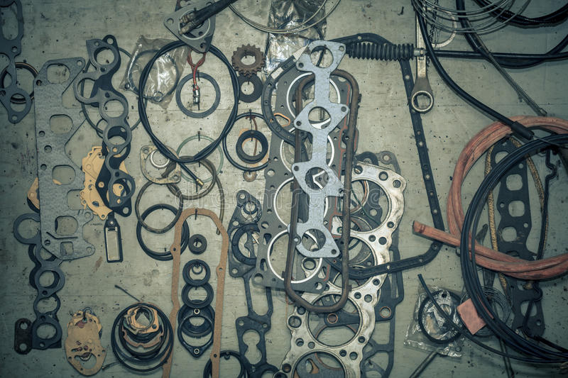 Many gaskets and seals royalty free stock photo