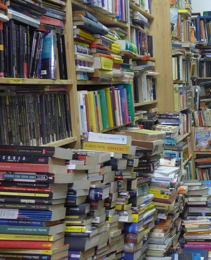 Many german books in a antique bookstore in Berlin, Germany stock image