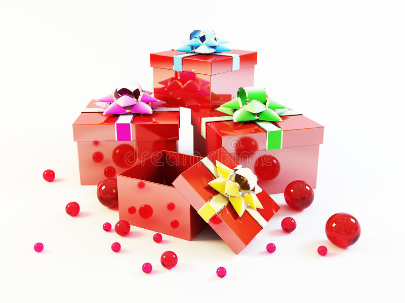 Many gift boxes stock images