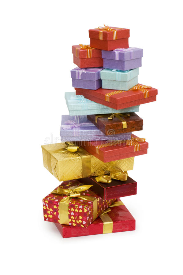Many giftboxes isolated royalty free stock image