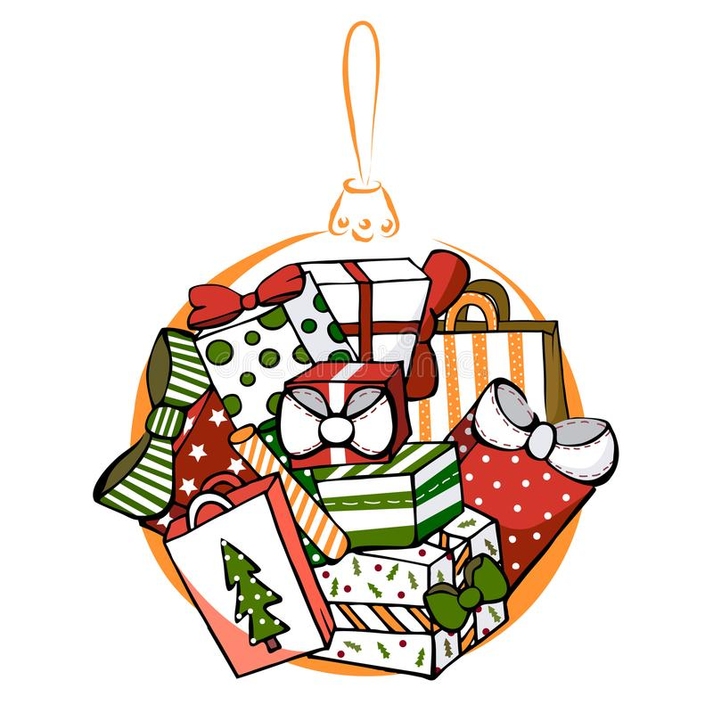 Many gifts, colorful Christmas gifts, Christmas ball, Christmas present, colorful gift boxes. stock illustration