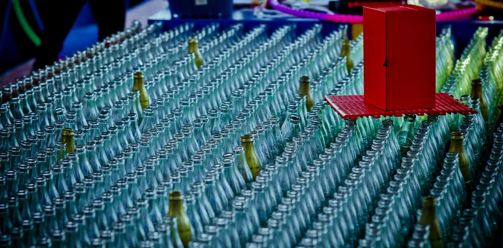 Many glass bottles. royalty free stock images
