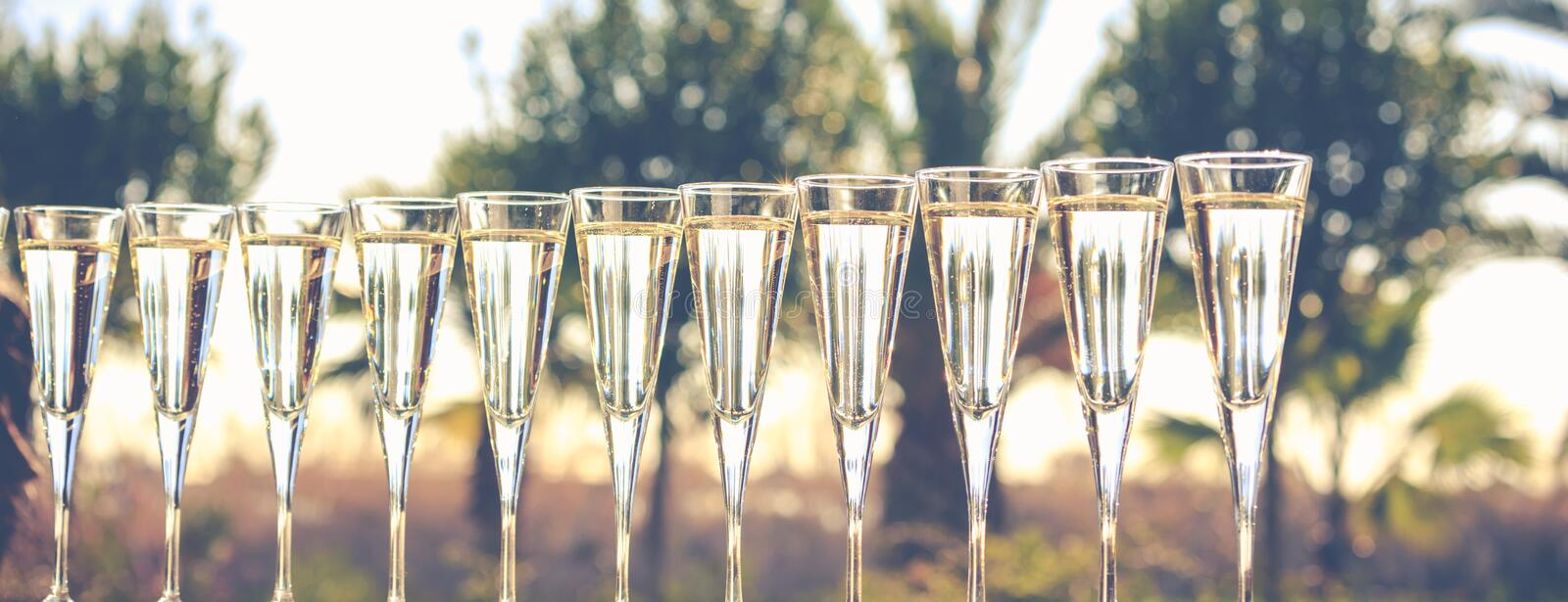 Many glasses of champagne or prosecco near resort pool in a luxury hotel. Pool party. Horizontal, banner format, toned image royalty free stock image
