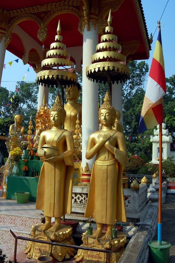 Many gold Buddhas, Vientiane, Laos royalty free stock photos