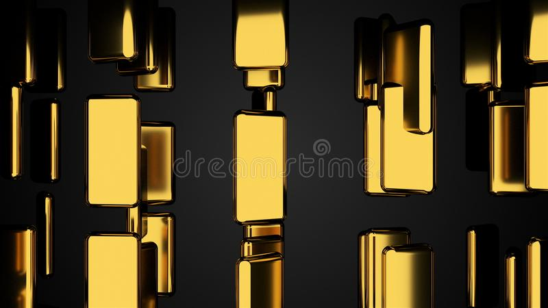 Many golden bars on black, outlook, computer generated abstract background, 3D render royalty free illustration