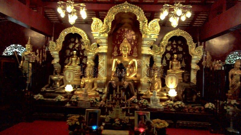 Many Golden Buddha stucco royalty free stock images