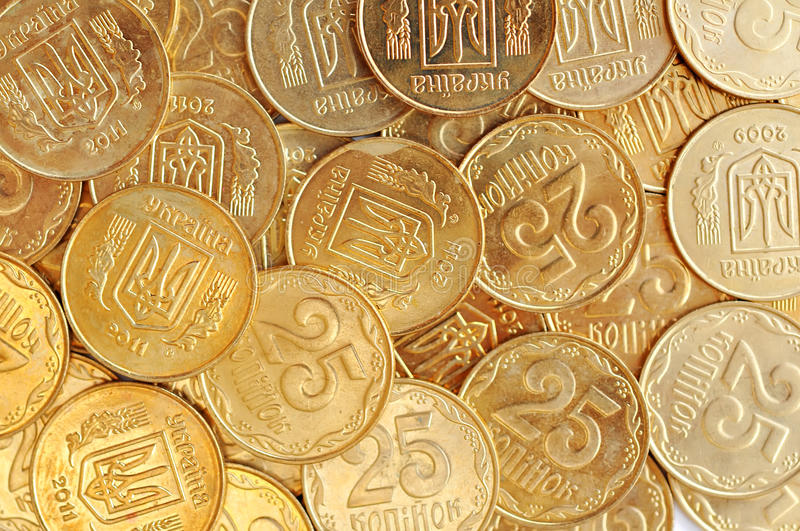 Many Golden Ukraininan Coins As Money Background. Top View stock photo