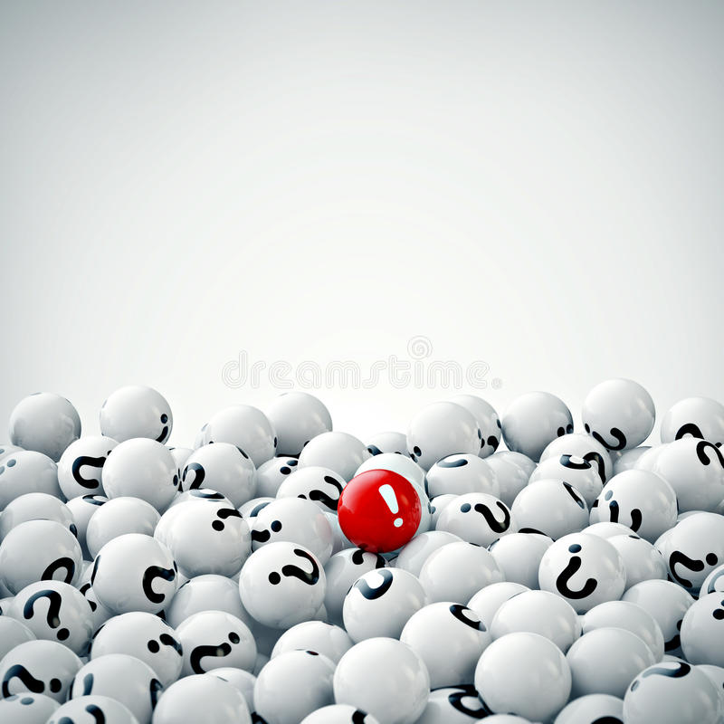 Many gray balls with question marks. 3d rendering royalty free illustration