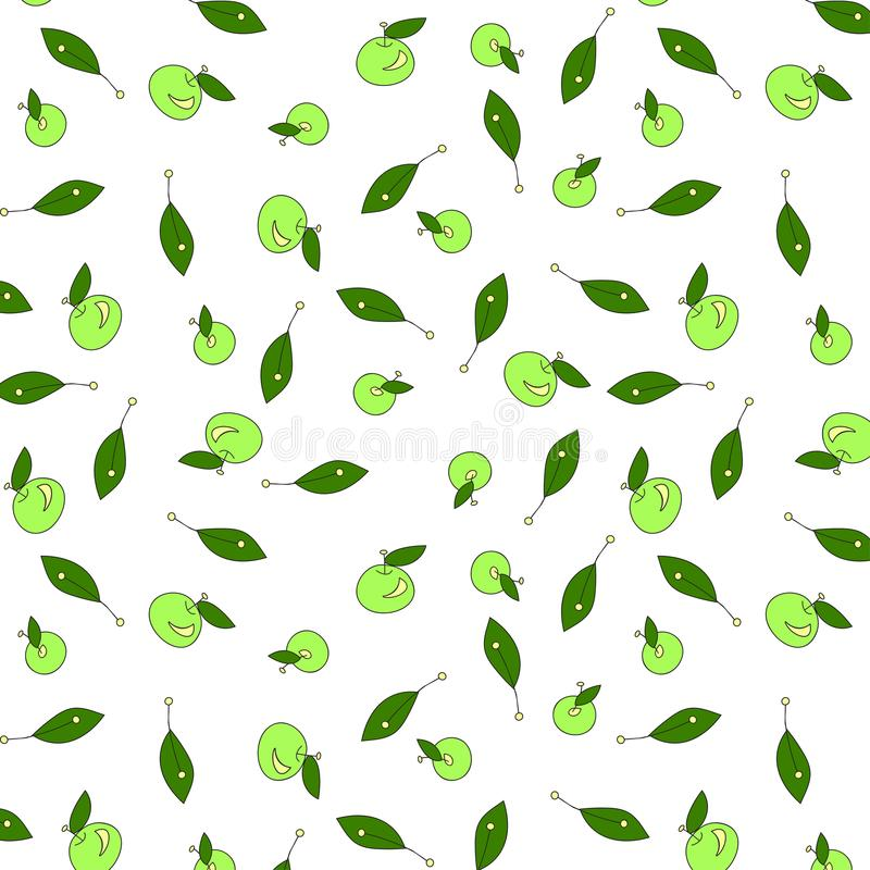 Green apples pattern stock photos