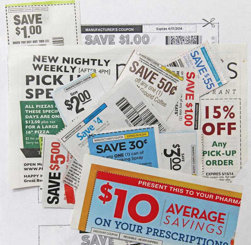 Many grocery restaurant prescription coupons dollar savings royalty free stock images