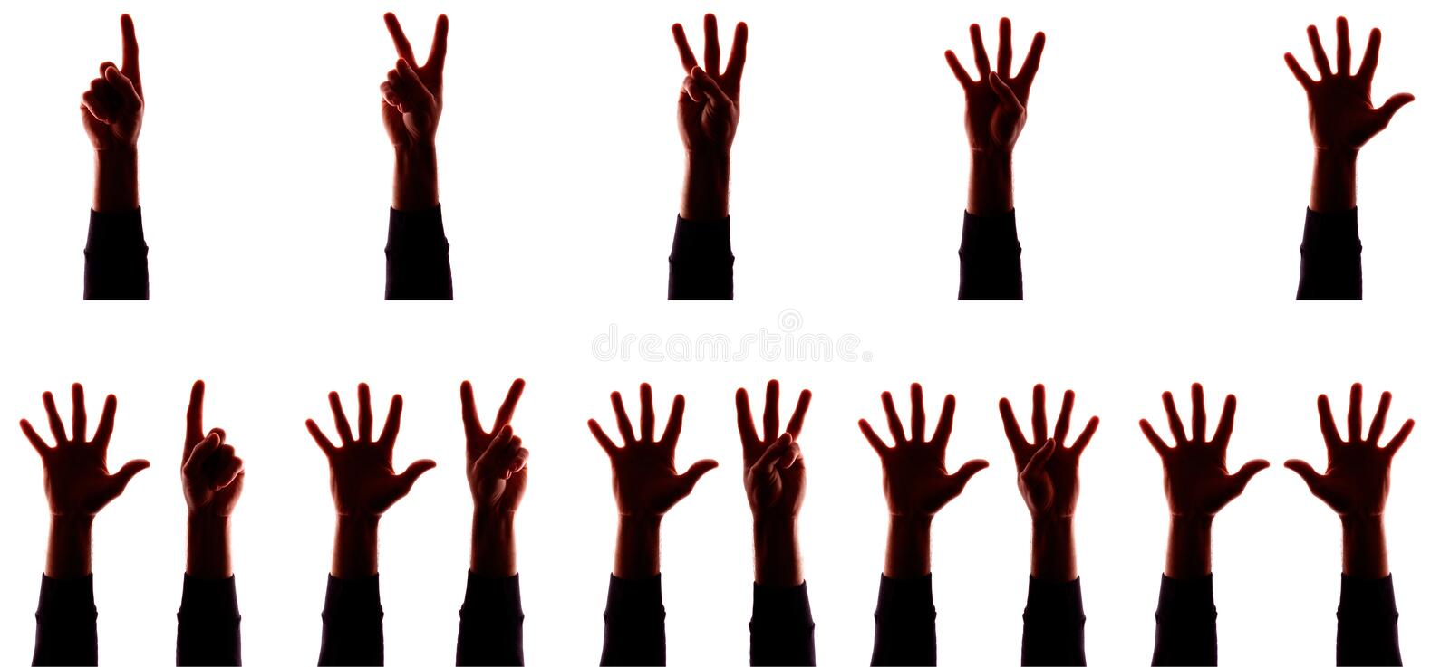 Many hand`s young man with fingers apart, numbers - silhouette, concept stock images