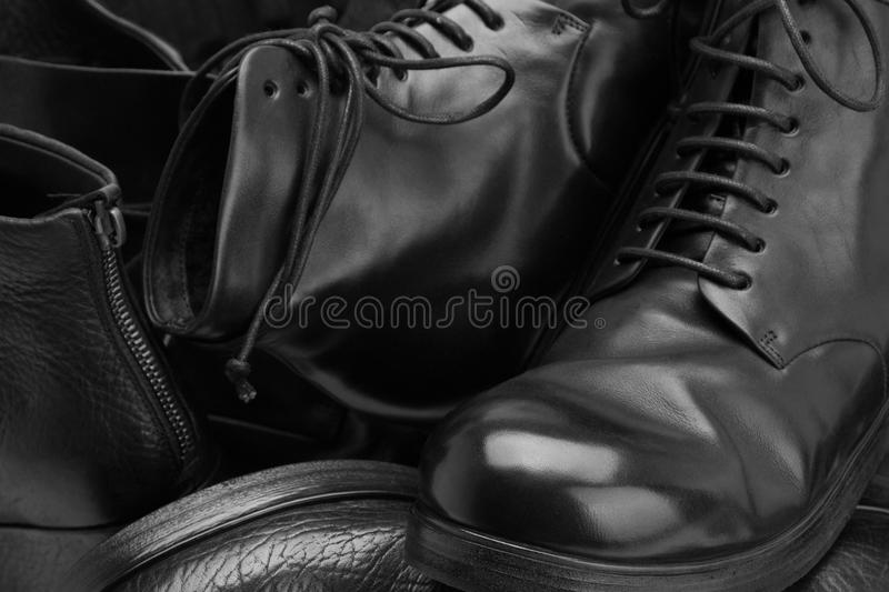 Many handmade shoes close-ups. Leather handmade shoes close-up royalty free stock images