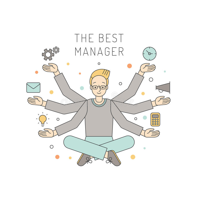 Many hands blond man manager multicolored vector illustration. Business design concept. Simple outline design. stock illustration