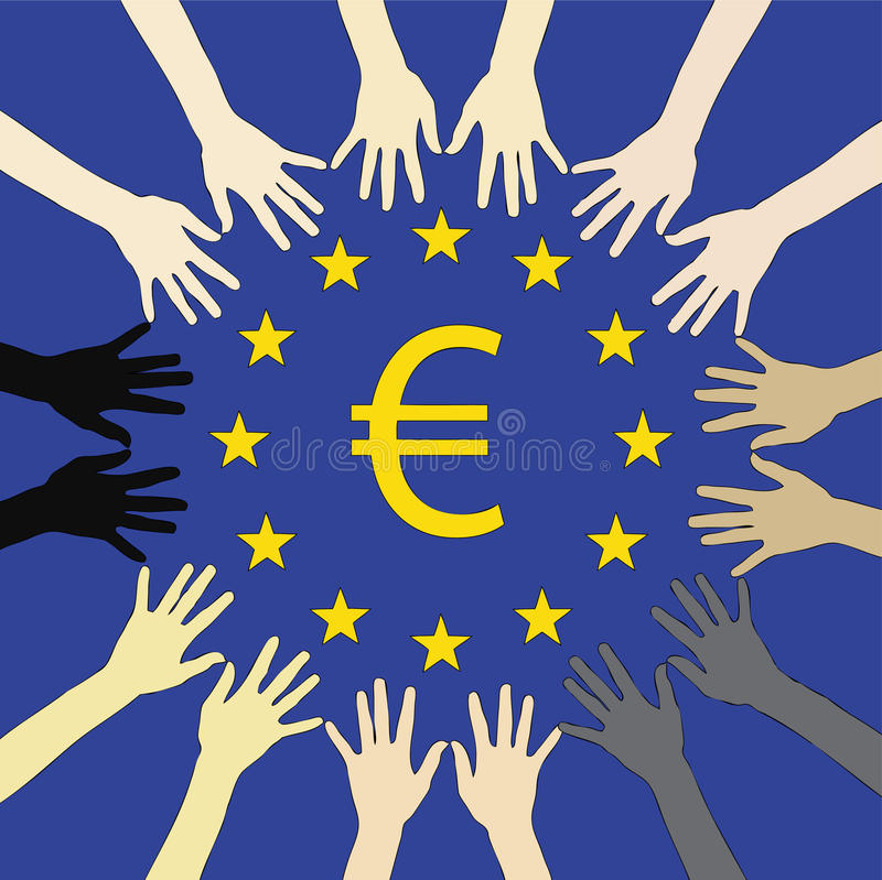 Download Many hands for Europe stock illustration. Image of hope - 19772218