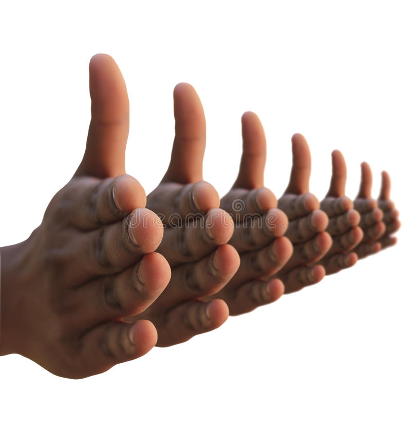 Many hands extended for hand shake. Many hands hand shake gesture. Non verbal body language signal stock photos