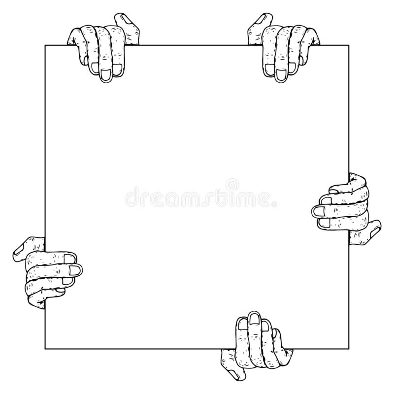 Many hands is holding a blank sheet of paper icon. Vector illustration of a mans hands holding blank paper. Hand drawn blank paper stock illustration