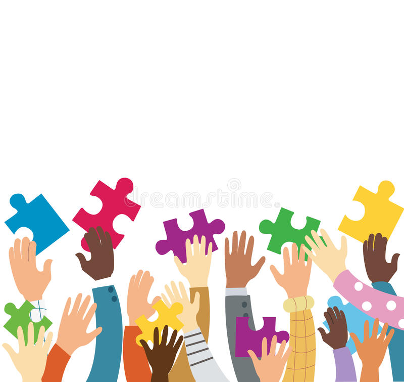 Many hands holding colorful puzzle pieces royalty free illustration