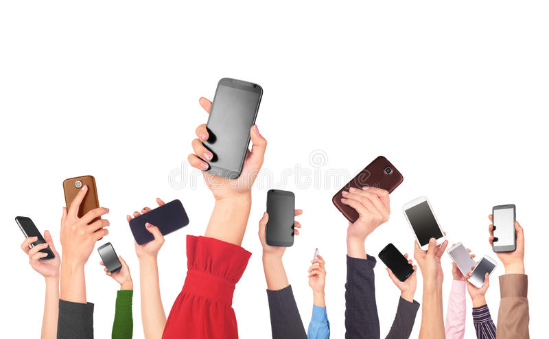 Many hands holding mobile phones. On white background stock illustration