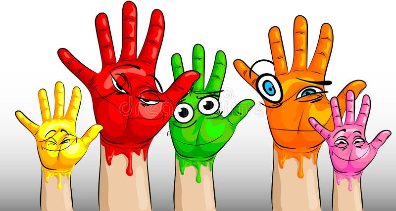 Many hands in multi-colored paint and with funny and funny faces on the palms royalty free illustration