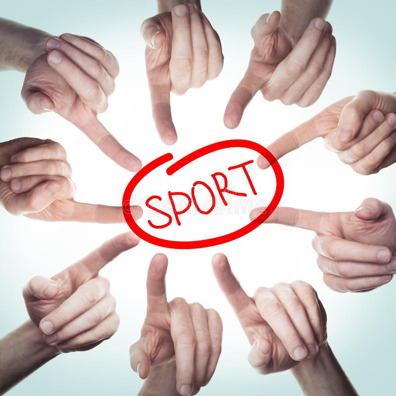 Many hands point to sign Sport. Concept  sport problems.  stock image