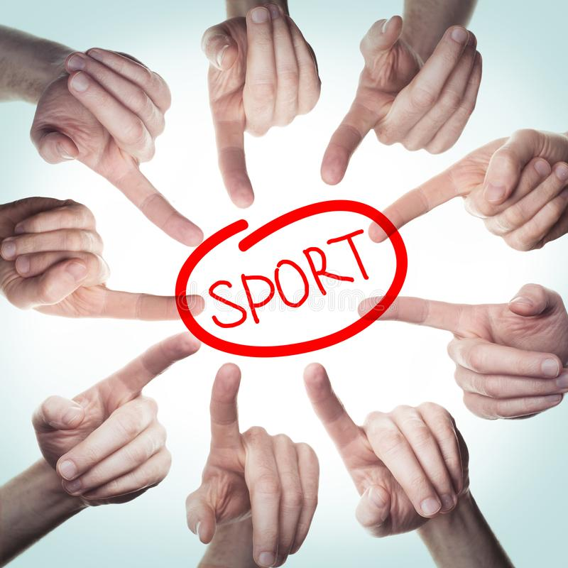 Many hands point to sign Sport. Concept  sport problems.  royalty free stock photo