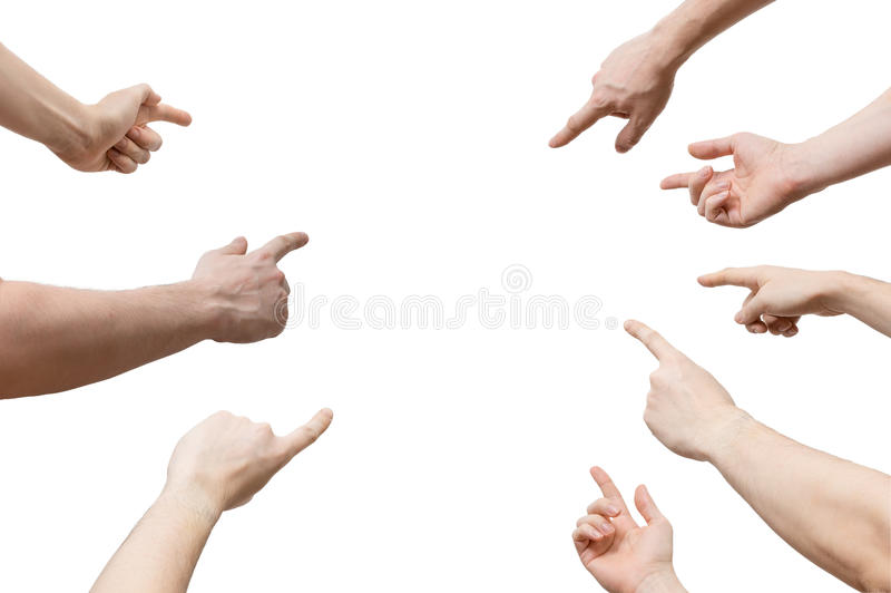 Many hands pointing ahead or out isolated royalty free stock images