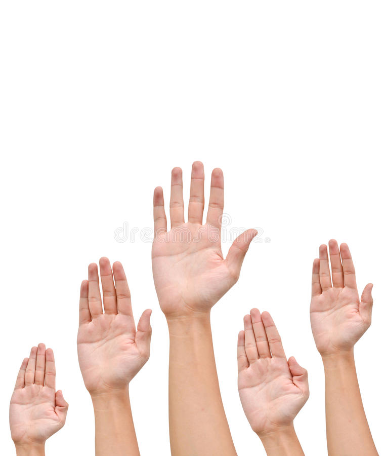 Many Hands raise high up stock photography
