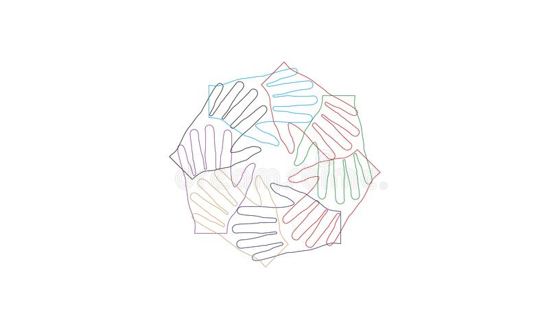 Many hands together group of people joining hands. Many hands together: group of people joining hands. Multiracial Hands Making a Circle. Conceptual symbol of royalty free illustration