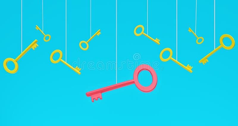 Many hanging yellow keys and one red key on blue background. 3d rendering. Stand out from the crowd and different concept. many hanging yellow keys and one red stock illustration