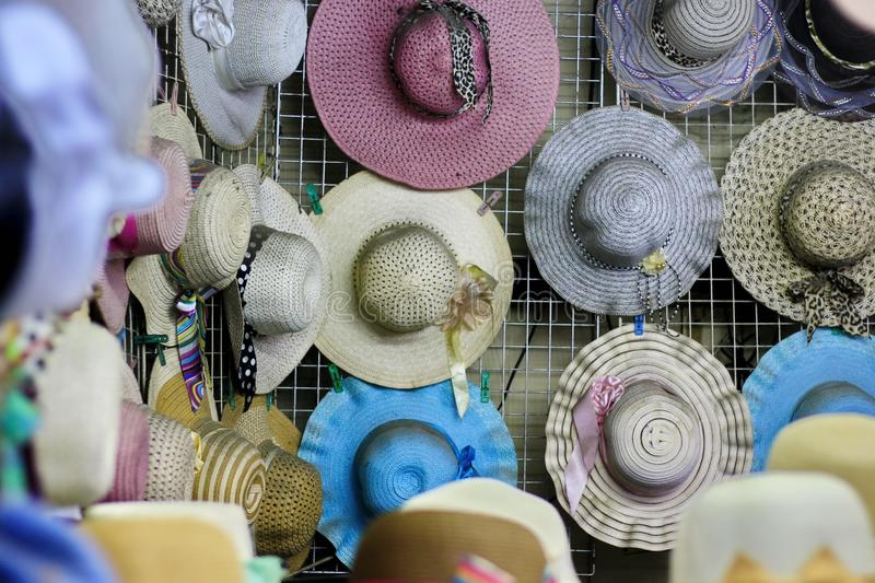 Many hats are in a shop in Thailand stock images
