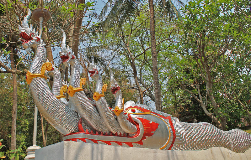 Many-headed dragonthe watchman of a temple. Many-headed dragon - the watchman of a Buddhist temple, Laos stock image