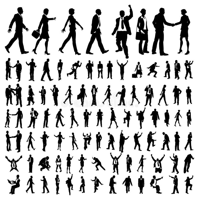 Many high quality business people silhouettes stock illustration