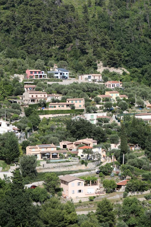 Many Houses On The Hill. In Castellar On The French Riviera, France, Europe royalty free stock image